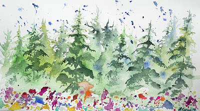 Painting - Watercolor - Rain In A Summer Forest by Cascade Colors