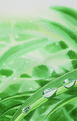 Royalty-Free and Rights-Managed Images - Watercolor Realism Morning Dew Drops by Irina Sztukowski