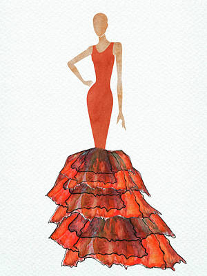 Digital Art Rights Managed Images - Watercolor red dress Royalty-Free Image by Mihaela Pater