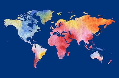 Royalty-Free and Rights-Managed Images - Watercolor Silhouette World Map Colorful PNG IV by Irina Sztukowski