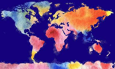 Royalty-Free and Rights-Managed Images - Watercolor Silhouette World Map Colorful PNG V by Irina Sztukowski