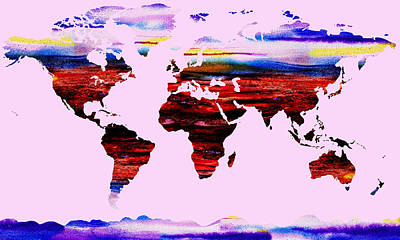 Royalty-Free and Rights-Managed Images - Watercolor Silhouette World Map Colorful PNG XXVII by Irina Sztukowski