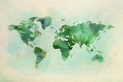 Photograph - Watercolor Vintage World Map In Green Colors by Michal Bednarek
