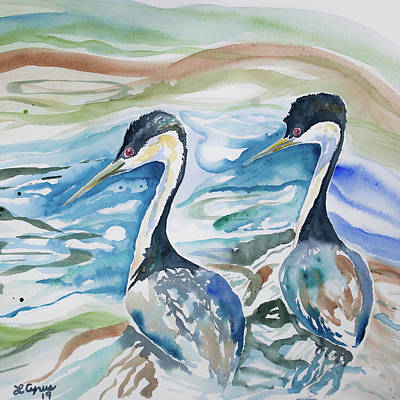 Painting - Watercolor - Western Grebe Symmetry by Cascade Colors