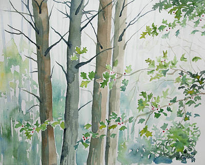 Painting - Watercolor - Winter Trees With Holly by Cascade Colors