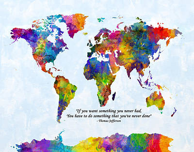 Digital Art - Watercolor World Map Custom Text Added by Michael Tompsett