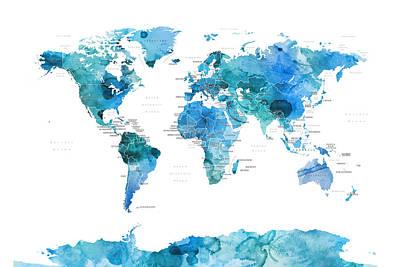 Digital Art - Watercolour Political Map Of The World Blue by Michael Tompsett
