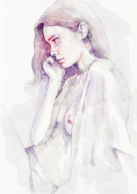 Painting - Watercolour Sensual Portrait by Dimitar Hristov