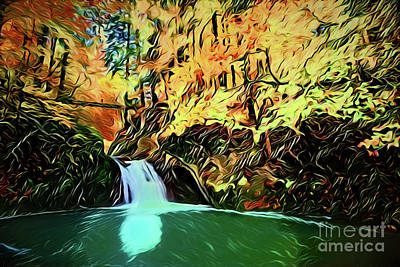 Painting - Waterfall A18-156 by Ray Shrewsberry