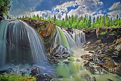 Painting - Waterfall A18-50 by Ray Shrewsberry