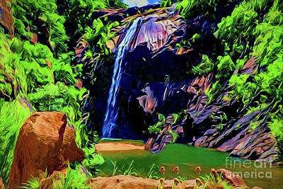 Painting - Waterfall A18241 by Ray Shrewsberry