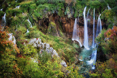 Photograph - Waterfall In Plitvice Lakes National Park In Croatia by Artur Bogacki