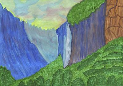 Painting - Waterfall In The Mountains by Dobrotsvet Art