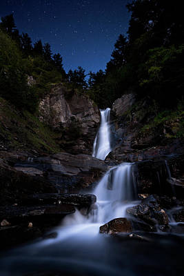 Photograph - Waterfall Lit By Full Moon And Stars by © Francois Marclay