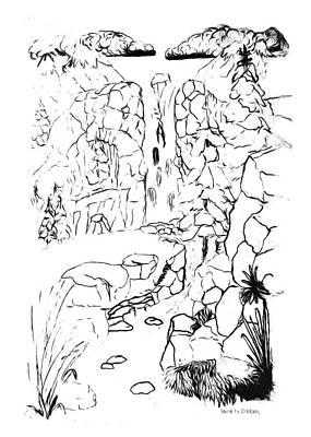 Drawing - Waterfall Paint My Sketch by Delynn Addams