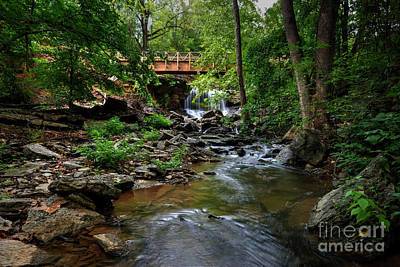 Photograph - Waterfall With Wooden Bridge by Joe Sparks