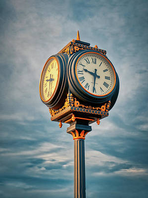 Photograph - Waterfront Clock At Sunset by Gary Slawsky
