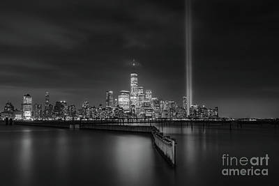 Photograph - Waterfront Walkway Memorial Bw by Michael Ver Sprill