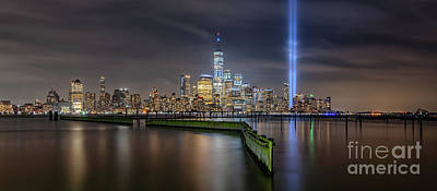 911 Memorial Photograph - Waterfront Walkway Tribute In Light Pano by Michael Ver Sprill