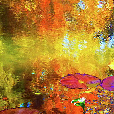 Mixed Media Royalty Free Images - Waterlilies Royalty-Free Image by Sharon Williams Eng