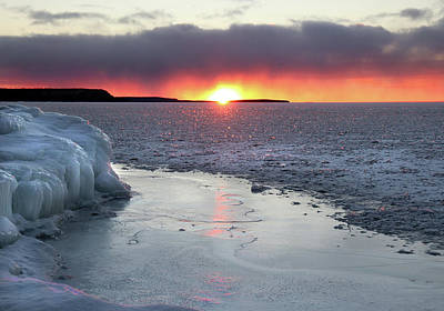 Photograph - Waters End Winter Sunset by David T Wilkinson