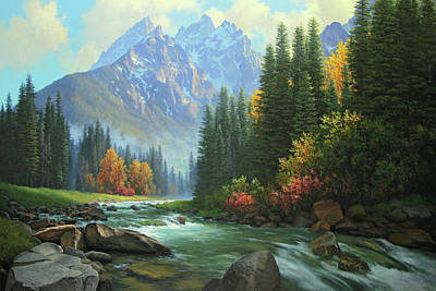 Painting - Waters Of The Mountains by John Cogan
