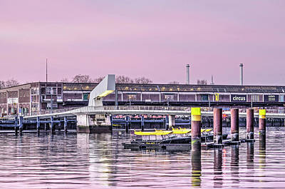 Photograph - Watertaxis, Bridge And Warehouse At Sunrise by Frans Blok