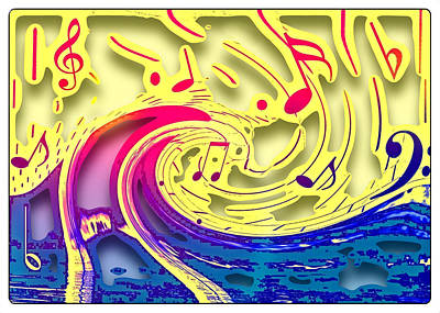 Digital Art - Waves Of Music 3d by Susan Leggett