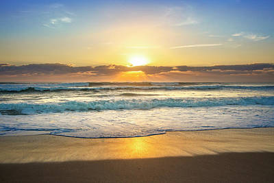 Photograph - Waves Rolling In At Sunrise by Debra and Dave Vanderlaan