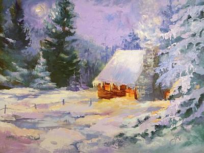 Painting - Wawona Snowy Cabin by Jeri McDonald