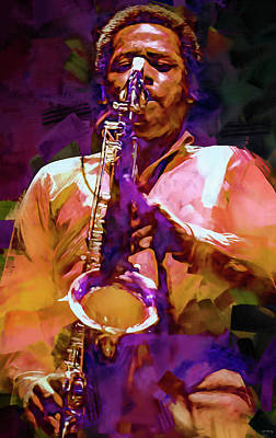 Jazz Mixed Media Royalty Free Images - Wayne Shorter Royalty-Free Image by Mal Bray
