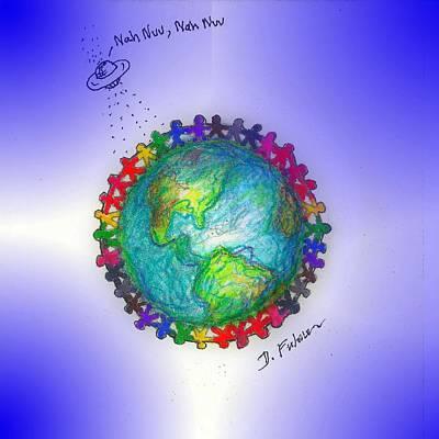 Mixed Media - We Are The World by Denise F Fulmer