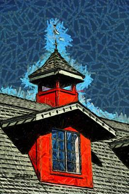 Photograph - Weather Vane Red Window Gable Abstract by Floyd Snyder