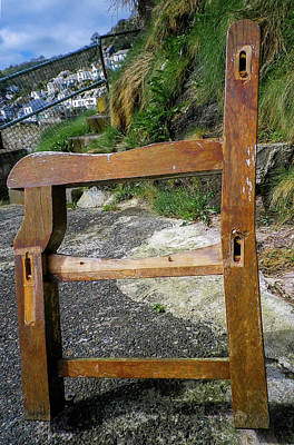 Photograph - Weathered Bench End Standing Till The End by Richard Brookes