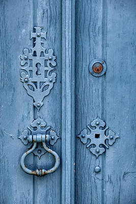 Photograph - Weathered Blue Door Lock by David Letts