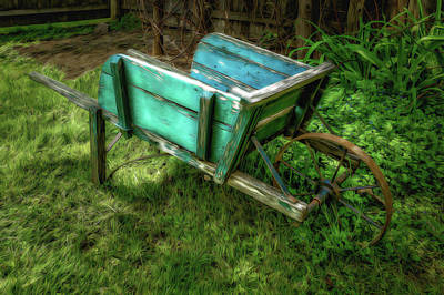 Photograph - Weathered Garden Cart  -  Weatherdgardencartpainted185162 by Frank J Benz