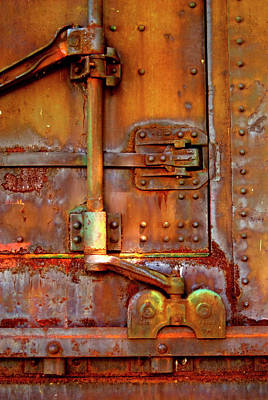 Photograph - Weathered Railroad Boxcar Door Latch by Paul W Faust - Impressions of Light