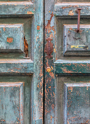 Photograph - Weathered Rustic Green Door Of Cortona by David Letts