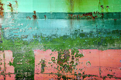 Photograph - Weathered Ship Hull With Draught Marks by Frans Blok