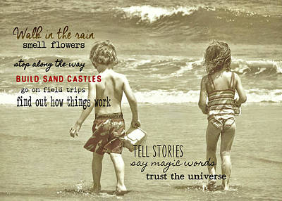 Photograph - Wee Beachcombers Quote by JAMART Photography