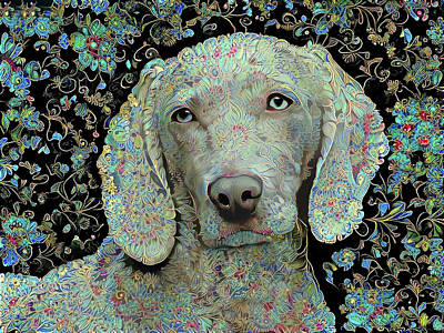Digital Art - Weimaraner In Paisley by Peggy Collins