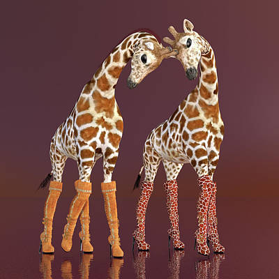 Comics Digital Art - Well Heeled Giraffes by Betsy Knapp