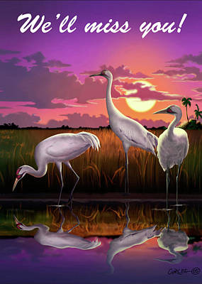 Digital Art - We'll Miss You Greeting Card - Whooping Cranes Tropical Sunset by Walt Curlee