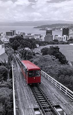 Photograph - Wellington New Zealand Cable Car Bw by Joan Carroll
