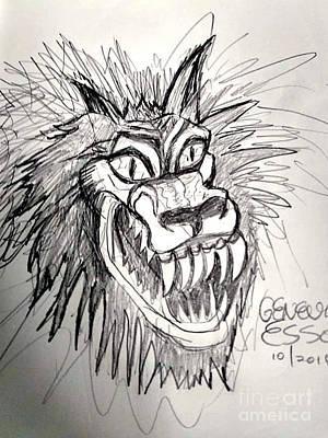 Animals Drawings - Werewolf by Genevieve Esson