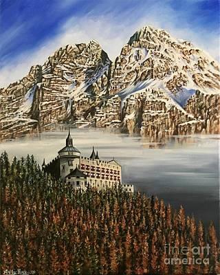 Painting - Werfen Austria Castle In The Clouds by Art By Three Sarah Rebekah Rachel White