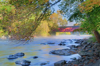Photograph - West Cornwall Covered Bridge Autumn by Bill Wakeley