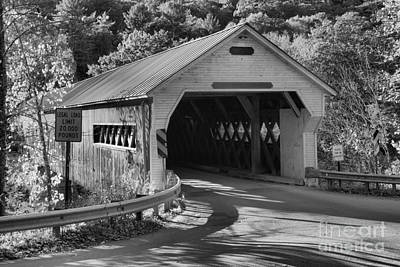 Photograph - West Dummerston Covered Bridge Black And White by Adam Jewell
