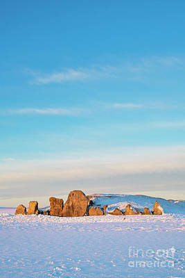 Photograph - West Kennet Long Barrow In The Winter Snow At Sunrise by Tim Gainey