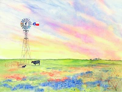 Painting - West Texas Ranch Landscape Windmill by CarlinArt Watercolor
